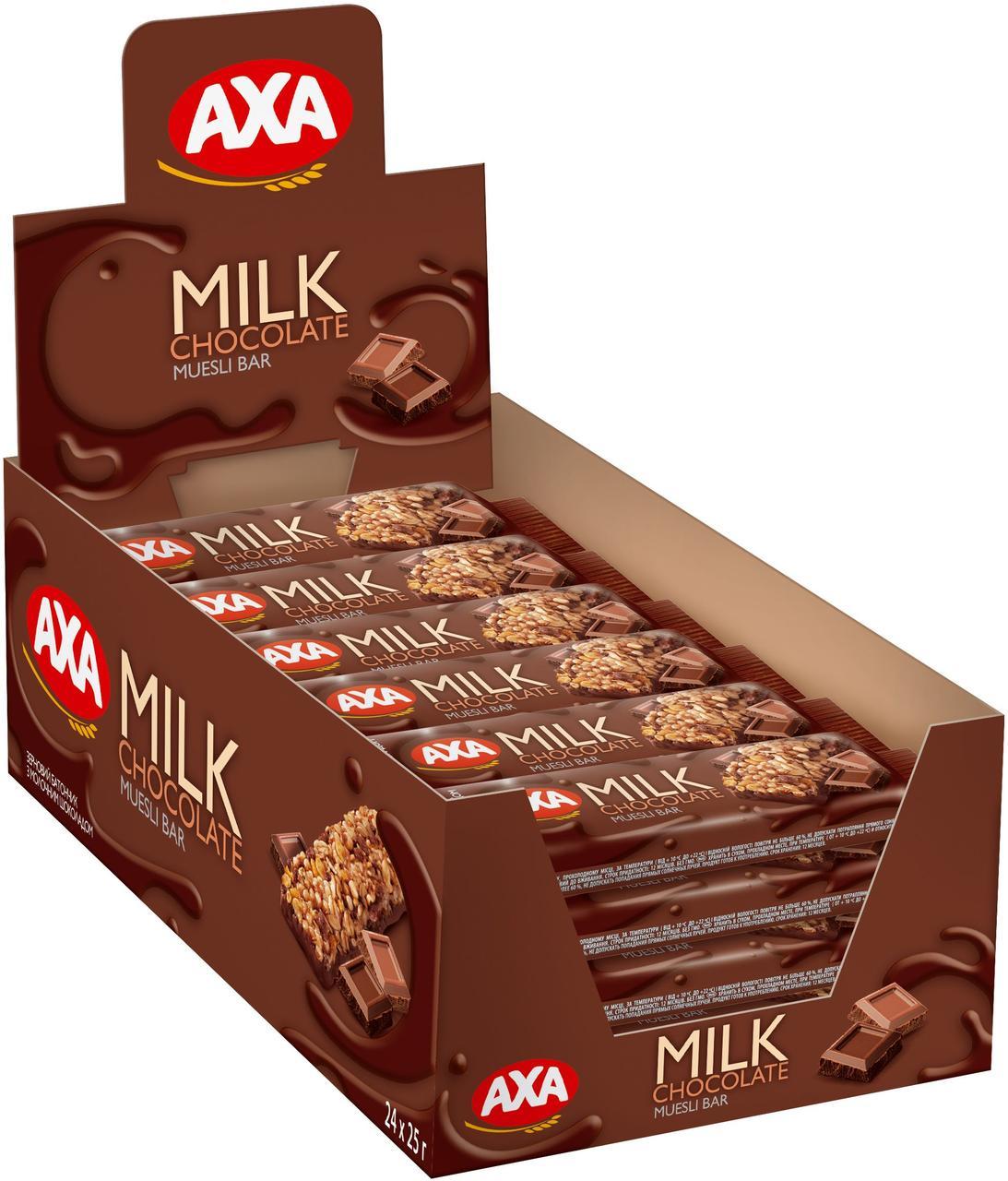 Зерновий батончик з молочним шоколадом 25г | 24шт АХА