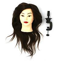 """Голова-манекен SPL """"шатен"""" натуральні волосся 50-55см + штатив 918/A-4"""