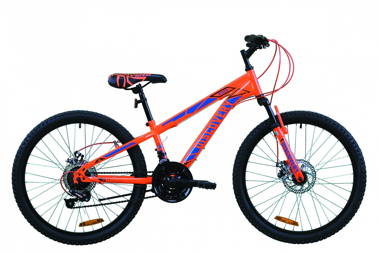 """Велосипед для подростка 24"""" Discovery Rider AM DD 2020 оранжево-синий, 11.5"""""""