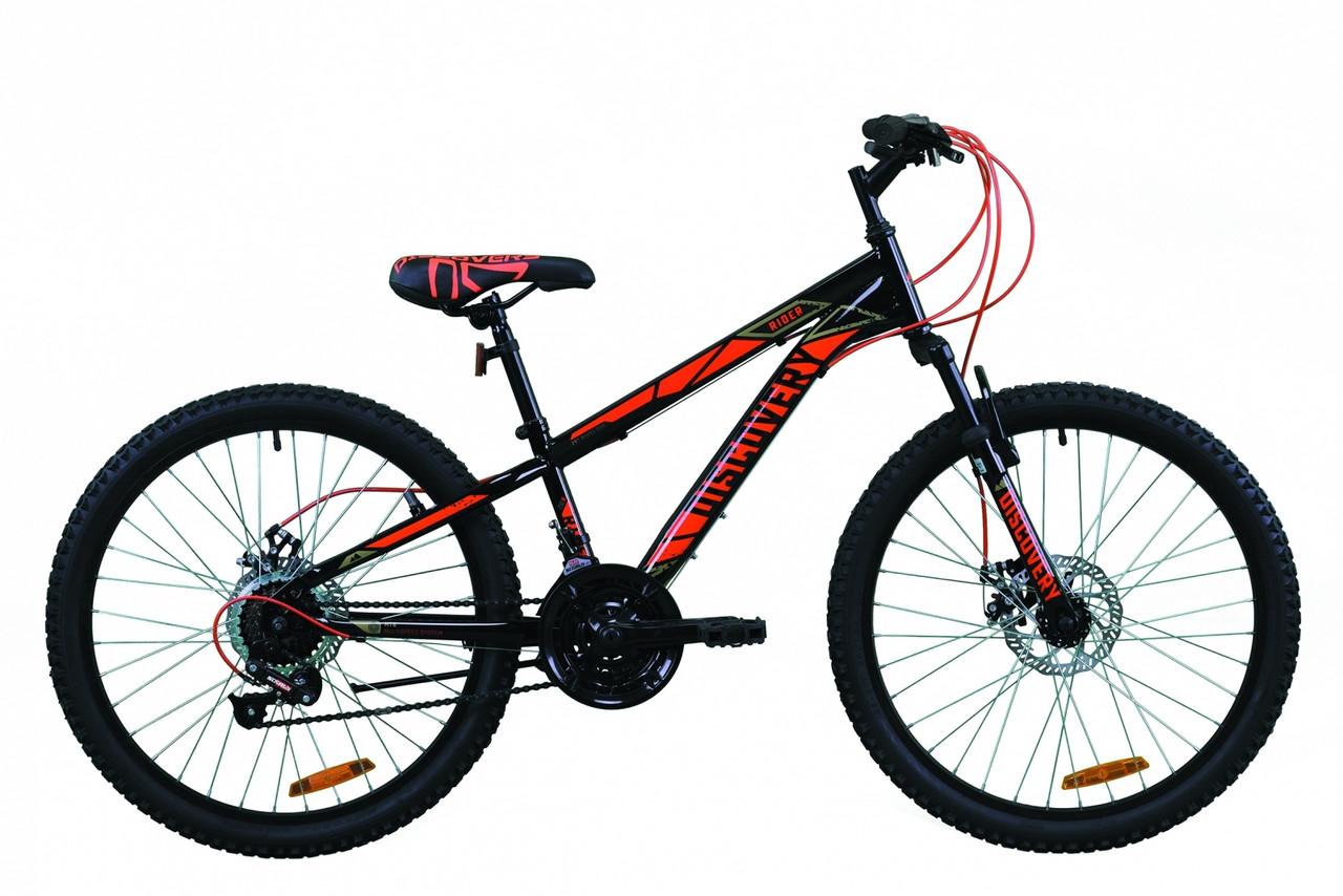 """Велосипед для подростка 24"""" Discovery Rider AM DD 2020 черно-красный, 11.5"""""""