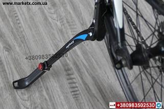 """Підніжка стояночная бічна велосипедна телескопічна 24 """"-29"""" з подвійним кріпленням чорна з білим, фото 3"""