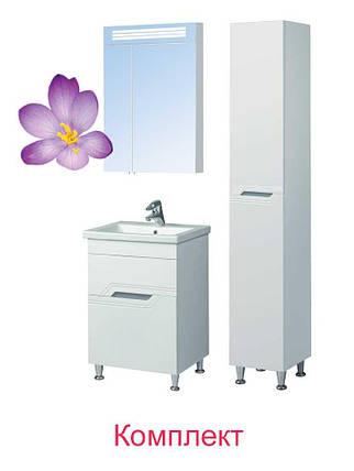 Комплект мебели Мойдодыр - Тумба Форсаж 60 с Зеркальным шкафом Лагуна 60 и Пеналом П-38-к, фото 2