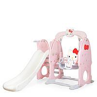 Горка-качель Bambi HK5018-2A с баскетбольным кольцом | Гірка з гойдалкою Хеллоу Китти Розовая