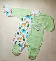 Человечек для новорожденного в роддом наружные швы хлопок  56 размер