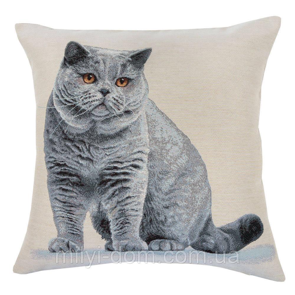 """Декоративна гобеленова наволочка """"Кіт британський"""" 45*45 см"""