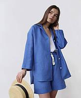 Женская льняная умягченная пижама шорты и рубаха свободного кроя. Доступно в р 40-74+ батал, фото 1