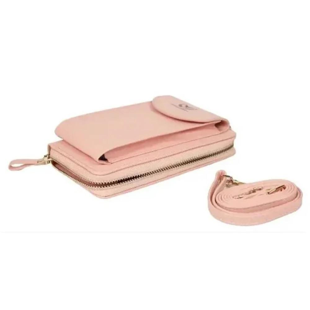 Сумка клатч кошелек с карманом для телефона Wallerry Zl-8592 ПУДРОВЫЙ