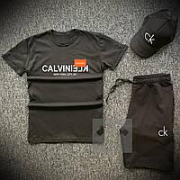 Мужской комплект летний Calvin Clein (реплика) | футболка | шорты | тракер. Цвет: черный, низ черный, серый.