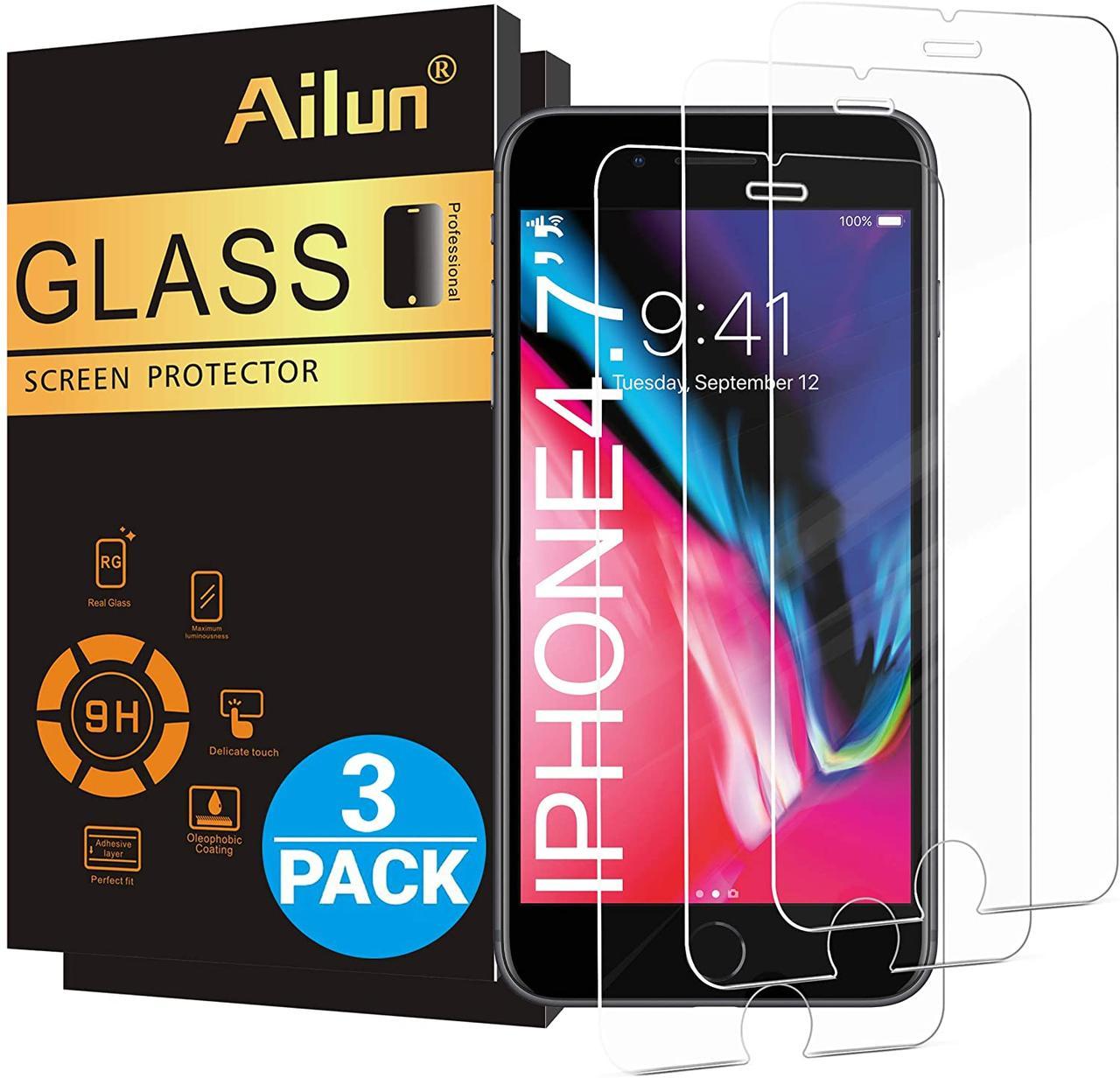 """Защитное стекло Ailun для iPhone 8,7,6 s, 6,( 4,7"""") 3 штуки в упаковке"""