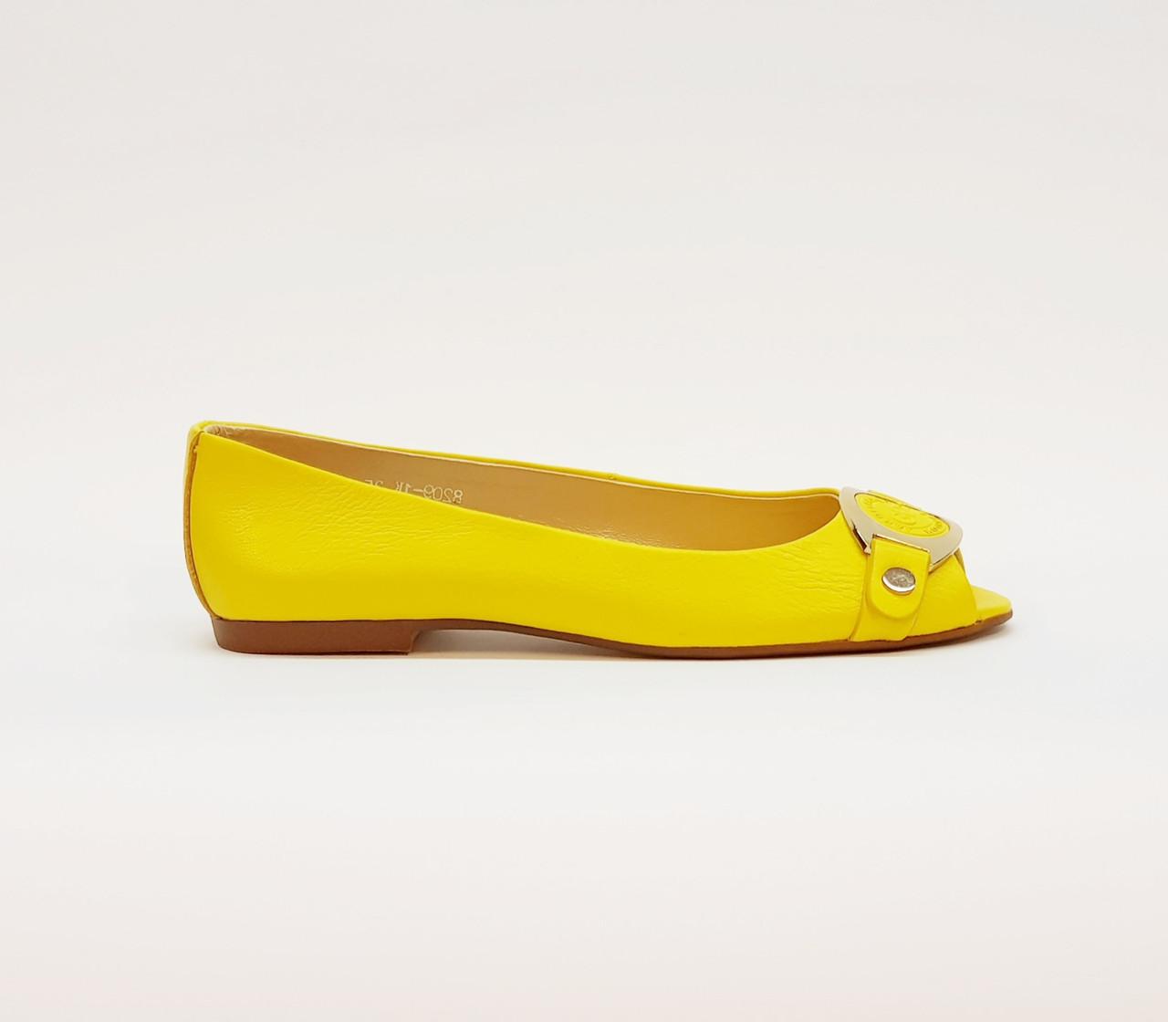 Балетки женские летние из натуральной кожи на плоской подошве жёлтые