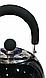 Чайник со свистком Benson BN-718 (2 л) черный из нержавеющей стали, нейлоновая ручка | чайник Бенсон, Бэнсон, фото 4