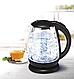 Стеклянный электрочайник KB-2028 черный (1.7 л) | электрический чайник | чайник с подсветкой, фото 6