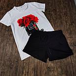 Женский костюм шорты с футболкой комплект Sushi белый с черным. Живое фото, фото 5
