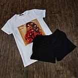Женский костюм шорты с футболкой комплект Sushi белый с черным. Живое фото, фото 8