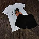 Женский костюм шорты с футболкой комплект Sushi белый с черным. Живое фото, фото 9