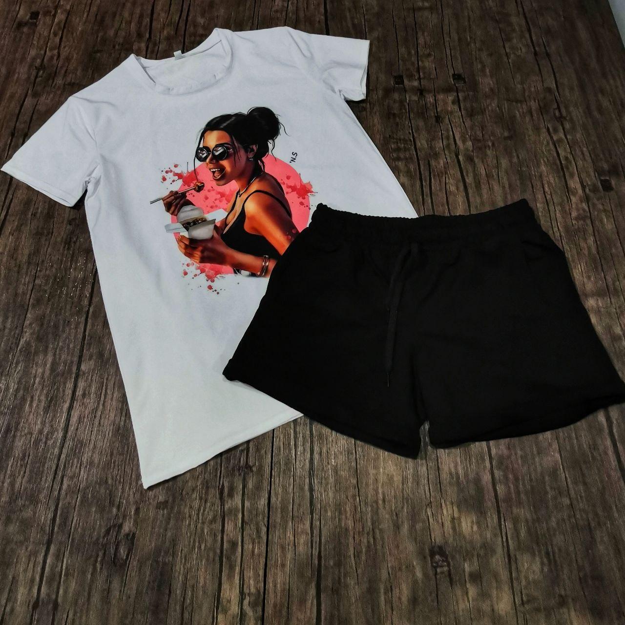 Женский костюм шорты с футболкой комплект Sushi белый с черным. Живое фото