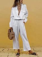 Льняной женский тонкийкомплект: пиджак-рубашка и брюки свободного стиля оверсайз, батал есть, фото 1