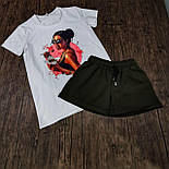 Женский костюм шорты с футболкой комплект Sushi белый с черным. Живое фото, фото 4