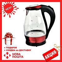 Стеклянный электрочайник Kingberg KB-2031 (1.7 л) | электрический чайник | чайник с подсветкой Кингберг, фото 1