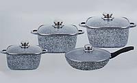 Набор посуды Benson BN-332 (8 предметов) гранитное покрытие | кастрюля с крышкой | кастрюли | сковорода Бенсон, фото 1