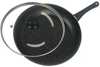 Сковорода з антипригарним мармуровим покриттям з кришкою Benson BN-341 (26 см) | сковорідка Бенсон, фото 1