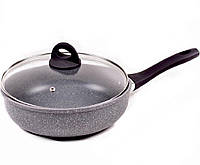 Сковорода Benson BN-494 (24 см) с крышкой, антипригарное гранитное покрытие | сковородка Бенсон, фото 1