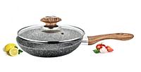 Сковорода Benson BN-541 (22 см) с крышкой, антипригарное гранитное покрытие | сковородка Бенсон, Бэнсон, фото 1