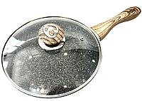 Сковорода Benson BN-544 (28 см) с крышкой, антипригарное гранитное покрытие | сковородка Бенсон, Бэнсон, фото 1