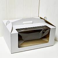 Коробка для торта 30х40х18 см. (белая с окошком)