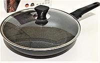 Сковорода Benson BN-558 (26 см) с антипригарным мраморным покрытием с крышкой | сковородка Бенсон, Бэнсон, фото 1