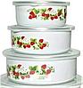 Набор судочков Benson BN-099 эмалированных (5 шт) | судок для еды Бенсон | пищевые контейнеры Бэнсон | судки