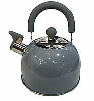 Чайник со свистком Benson BN-718 (2 л) серый из нержавеющей стали, нейлоновая ручка | чайник Бенсон, Бэнсон, фото 1