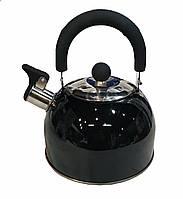Чайник со свистком Benson BN-718 (2 л) черный из нержавеющей стали, нейлоновая ручка | чайник Бенсон, Бэнсон, фото 1
