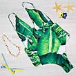 КУПАЛЬНИК слитный Банановые Листья Тропический Принт Цельный с разрезами Молодёжный Пландж Тренд 2020 размер M, фото 3