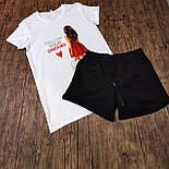 Жіночий костюм, шорти з футболкою комплект Drems біла з чорним. Живе фото, фото 6