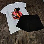 Жіночий костюм, шорти з футболкою комплект Drems біла з чорним. Живе фото, фото 10
