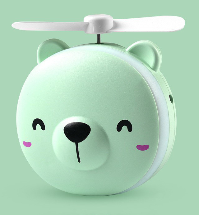 Вентилятор-портативний CH. Fan + Дзеркальце з підсвідкою Ведмедик Зелений