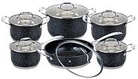 Набор посуды Edenberg EB-4044 кастрюли сковорода и ковш из 6 предметов, фото 1