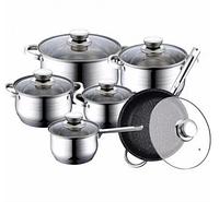 Набор посуды Haus Lux HL-1231 кастрюли сковорода-сотейник и ковш из 6 предметов, фото 1