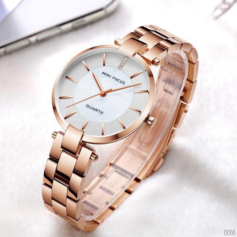 Оригинальные кварцевые женские часы Mini Focus (Розовое золото)
