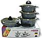 Набір посуду Benson BN-325 (8 предметів) мармурове покриття   каструля з кришкою   каструлі   сковорода Бенсон, фото 2