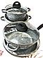 Набір посуду Benson BN-325 (8 предметів) мармурове покриття   каструля з кришкою   каструлі   сковорода Бенсон, фото 4