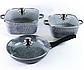 Набор посуды Benson BN-326 (6 предметов) гранитное покрытие   кастрюля с крышкой   кастрюли   сковорода Бенсон, фото 6