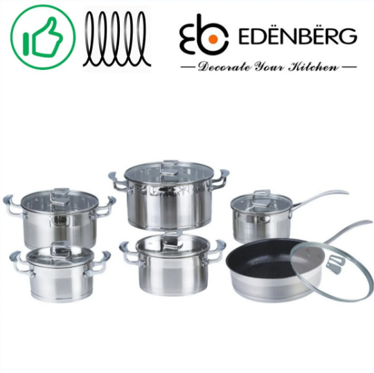 Набір посуду Edenberg EB-4048 каструлі сковорода і ківш з 6 предметів