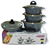 Набор посуды Benson BN-325 (8 предметов) мраморное покрытие | кастрюля с крышкой | кастрюли | сковорода Бенсон, фото 1