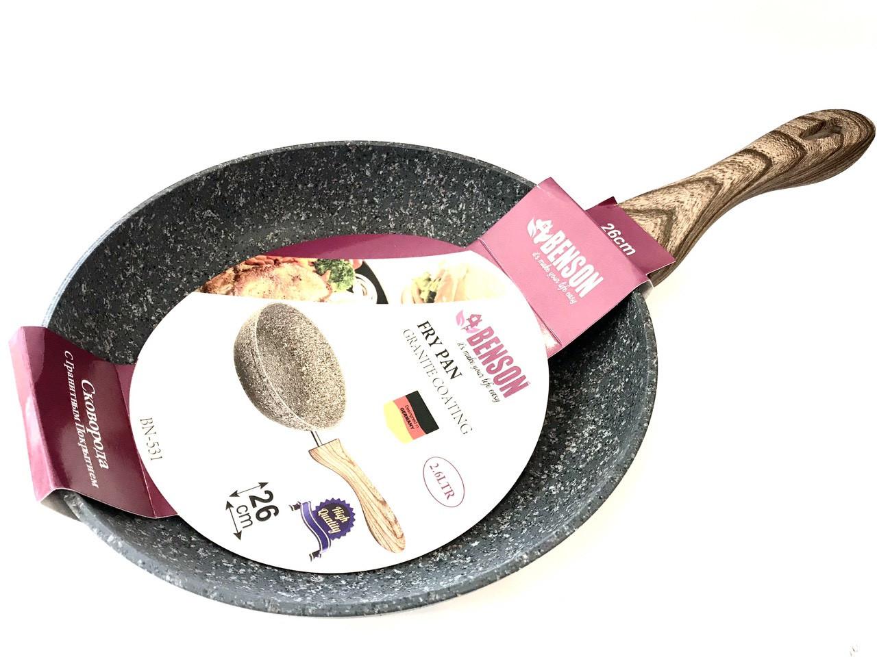Сковорода Benson BN-531 (26 см) антипригарное гранитное покрытие, SOFT TOUCH   сковородка Бенсон, Бэнсон