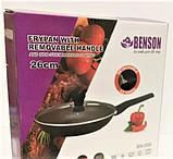 Сковорода Benson BN-559 (28 см) з мармуровим антипригарним покриттям, з кришкою   сковорідка Бенсон, Бэнсон, фото 3