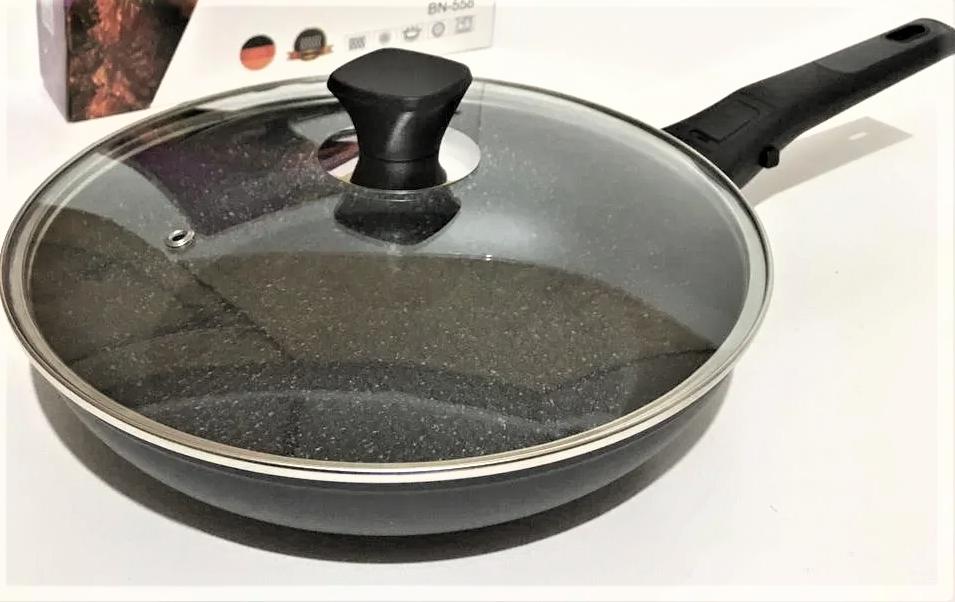 Сковорода Benson BN-559 (28 см) з мармуровим антипригарним покриттям, з кришкою   сковорідка Бенсон, Бэнсон