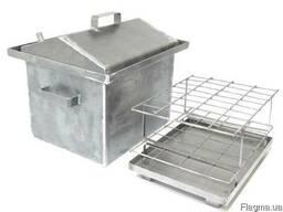 Коптильня с гидрозатвором крышка домиком 2 уровня (460*300*280)-2 мм для горячего копчения