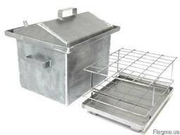 Коптильня с гидрозатвором крышка домиком 2 уровня (460*300*280)-2 мм для горячего копчения, фото 2